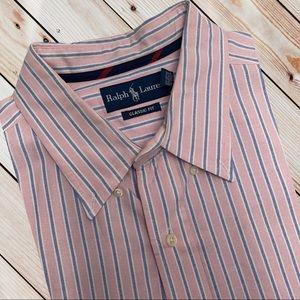 RALPH LAUREN POLO Mens XXL Pink Blue Dress Shirt